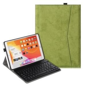Voor iPad Air (2019) Marble Cloth Texture Horizontale Flip Lederen Case met Pen Slot & Houder & Keyboard(Groen)