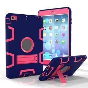Voor iPad Mini 5 / 4 Shockproof PC + Siliconen beschermhoes  met houder (Navy Blue Rose)