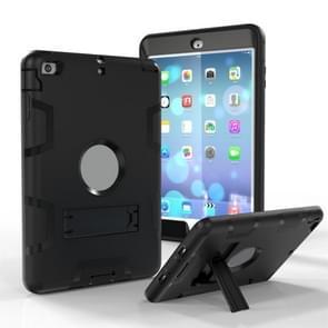 Voor iPad Mini 5 / 4 Schokbestendige PC + Siliconen beschermhoes  met houder(zwart)