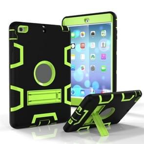 Voor iPad Mini 5 / 4 Schokbestendige PC + Siliconen beschermhoes  met houder (zwart groen)