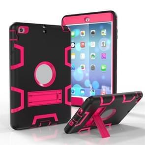 Voor iPad Mini 5 / 4 Shockproof PC + Siliconen beschermhoes  met houder (Black Rose)