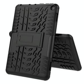 Voor Amazon Fire HD 8 (2020) Band Texture Shockproof TPU+PC Beschermhoes met houder(Zwart)
