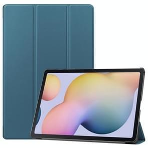Voor Samsung Galaxy Tab S7 Plus Custer Texture Smart PU Lederen hoes met slaap / Wake-up Functie & 3-voudige houder (Donkergroen)