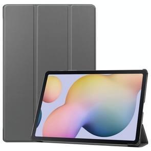 Voor Samsung Galaxy Tab S7 Plus Custer Texture Smart PU Lederen hoes met slaap / Wake-up Functie & 3-voudige houder(Grijs)
