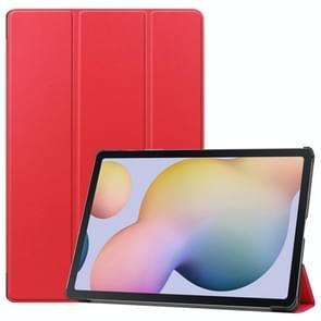 Voor Samsung Galaxy Tab S7 Plus Custer Texture Smart PU Lederen hoes met slaap / Wake-up Functie & 3-voudige houder(Rood)