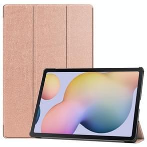 Voor Samsung Galaxy Tab S7 Plus Custer Texture Smart PU Lederen hoes met slaap / Wake-up Functie & 3-voudige houder (RoséGoud)