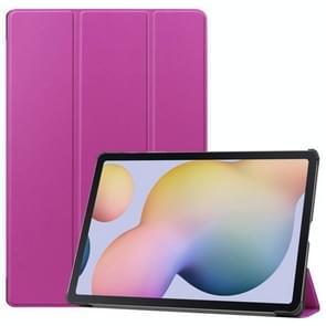 Voor Samsung Galaxy Tab S7 Plus Custer Texture Smart PU Lederen hoes met slaap / Wake-up Functie & 3-voudige houder(Paars)