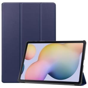 Voor Samsung Galaxy Tab S7 Plus Custer Texture Smart PU Lederen hoes met slaap / Wake-up Functie & 3-voudige houder (Donkerblauw)