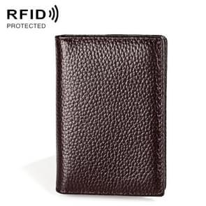 KB156 Antimagnetic RFID Men Lederen Kaart Tas Kaartkaarthouder (Koffie)