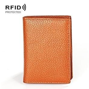 KB156 Antimagnetic RFID Men Leather Card Bag Card Holder(Brown)