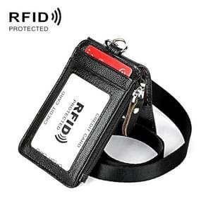 KB172 Antimagnetic RFID Leather Card Holder Office Work Certificate Case Chest Card(Zwart)