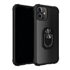 Voor iPhone 12 6 1 inch Schokbestendige Transparante TPU + acryl beschermhoes met ringhouder(zwart)