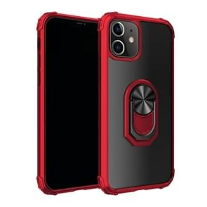 Voor iPhone 12 6 1 inch Schokbestendige Transparante TPU + acryl beschermhoes met ringhouder(rood)