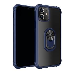 Voor iPhone 12 6 1 inch Schokbestendige Transparante TPU + acryl beschermhoes met ringhouder(blauw)