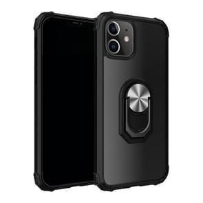 Voor iPhone 12 5 4 inch Schokbestendige Transparante TPU + acryl beschermhoes met ringhouder(Zwart Zilver)