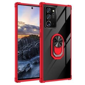 Voor Samsung Galaxy Note20+ Shockproof Transparante TPU + acryl beschermhoes met ringhouder(rood)