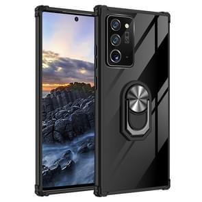 Voor Samsung Galaxy Note20+ Shockproof Transparante TPU + acryl beschermhoes met ringhouder(Zwart Zilver)