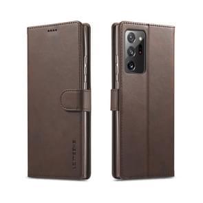 Voor Samsung Galaxy Note 20 Ultra LC. IMEEKE Kalf texture horizontale flip lederen kast  met Holder & Card Slots & Wallet(Brown)