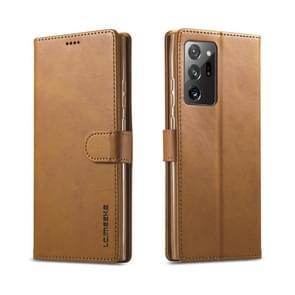 Voor Samsung Galaxy Note 20 Ultra LC. IMEEKE Kalf texture horizontale flip lederen kast  met Holder & Card Slots & Wallet(Geel)