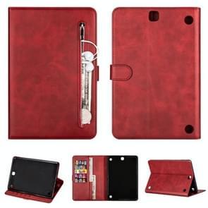 Voor Samsung Galaxy Tab A9.7 T550 Tablet Fashion Kalf textuur Rits horizontale flip lederen koffer met Stand & Card Slots & Wallet & Wake-up / Slaapfunctie(Rood)