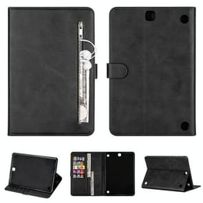 Voor Samsung Galaxy Tab A9.7 T550 Tablet Fashion Kalf textuur Rits horizontale flip lederen koffer met Stand & Card Slots & Wallet & Wake-up / Sleep Functie(Zwart)