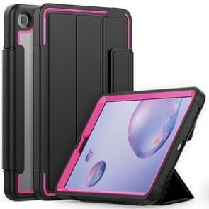 Voor Samsung Galaxy Tab A 8.4 (2020) T307 Acryl + TPU Horizontale Flip Smart Leather Case met drieklapbare houder & penslot & wake-up / slaapfunctie(Rose Red+Black)