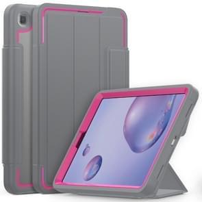 Voor Samsung Galaxy Tab A 8.4 (2020) T307 Acryl + TPU Horizontale Flip Smart Leather Case met drieklapbare houder & penslot & wake-up / slaapfunctie(Rose Red+Grey)