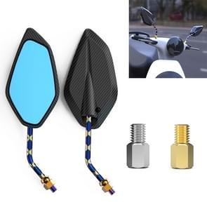 Motorfiets / Electromobile Modified Diamond-vormige Verbrand Titanium Plating Achteruitkijkspiegel  Stijl: Carbon Fiber Type X Textuur