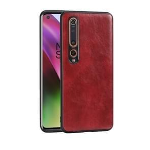 Voor Xiaomi 10 5G Crazy Horse Textured Calfskin PU+PC+TPU Case(Red)