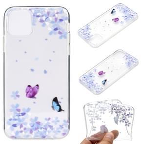 Voor iPhone 12 Pro Max Gekleurd tekenpatroon Transparante TPU beschermhoes (Bloemenvlinder)