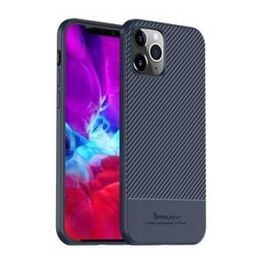 Voor iPhone 12 iPAKY Carbon Fiber Texture Soft TPU Case(Blauw)