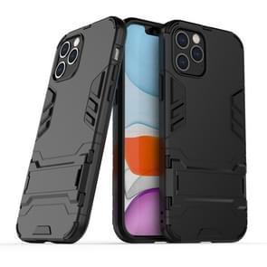 Voor iPhone 12 Max / 12 Pro PC + TPU Schokbestendige beschermhoes met onzichtbare houder(zwart)