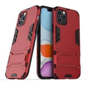 Voor iPhone 12 Max / 12 Pro PC + TPU Schokbestendige beschermhoes met onzichtbare houder(rood)
