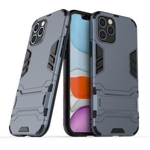 Voor iPhone 12 Max / 12 Pro PC + TPU Schokbestendige beschermhoes met onzichtbare houder(Navy Blue)