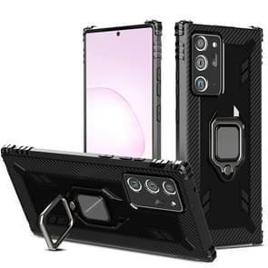 Voor Samsung Galaxy Note20 Ultra Carbon Fiber Beschermhoes met 360 graden roterende ringhouder(Zwart)