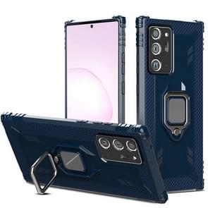 Voor Samsung Galaxy Note20 Ultra Carbon Fiber Beschermhoes met 360 graden roterende ringhouder(Blauw)