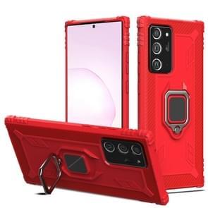 Voor Samsung Galaxy Note20 Ultra Carbon Fiber Beschermhoes met 360 graden roterende ringhouder(Rood)