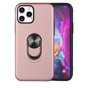 Voor iPhone 12 Pro / 12 Max 360 Roterende Multifunctionele Stent PC+TPU case met magnetische onzichtbare houder (Roségoud)