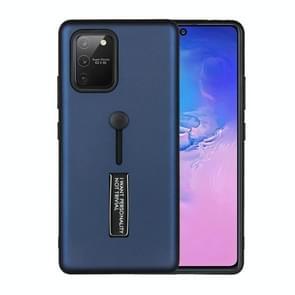 Voor Samsung Galaxy Note 20 Oil Feel Schokbestendige TPU + PC Beschermhoes met houder (Navy Blue)