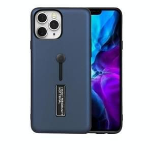 Voor iPhone 12 Max / 12 Pro Oil Feel Schokbestendige TPU + PC Beschermhoes met houder(Navy Blue)