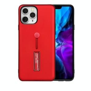 Voor iPhone 12 Max / 12 Pro Oil Feel Schokbestendige TPU + PC Beschermhoes met houder(Rood)