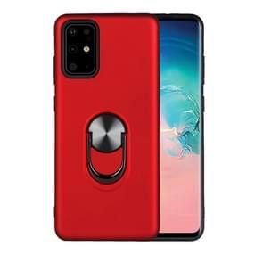 Voor Samsung Galaxy Note20 Schokbestendige PC+TPU beschermhoes met 360 graden roterende onzichtbare houder(rood)