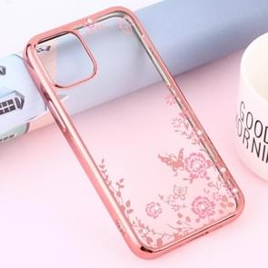 Voor iPhone 12 Bloemen Patronen Electroplating Soft TPU Protective Cover Case (Rose Gold)