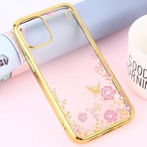 Voor iPhone 12 Bloemen Patronen Electroplating Soft TPU Protective Cover Case (Goud)