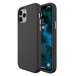 Voor iPhone 12 Max / 12 Pro Triangle Armor Texture TPU + PC Case(Zwart)