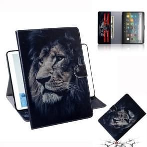 Voor Amazon Kindle Fire HD 8 (2020) / HD 8 Plus (2020) 3D Gekleurde tekening Horizontale Flip Lederen Case met Holder & Card Slot & Wallet(Lion)