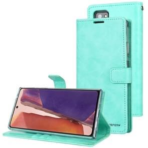 Voor Samsung Galaxy Note20 GOOSPERY BLUE MOON Crazy Horse Texture Horizontale Flip Lederen case met bracket & card slot & wallet (Mint Green)