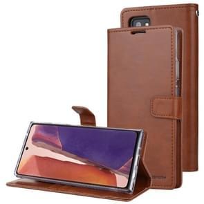 Voor Samsung Galaxy Note20 GOOSPERY BLUE MOON Crazy Horse Texture Horizontale Flip Lederen case met bracket & card slot & wallet(bruin)
