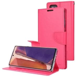 Voor Samsung Galaxy Note20 GOOSPERY Bravo Diary Crazy Horse Texture Horizontale Flip Lederen case met bracket & card slot & wallet(Rose Red)