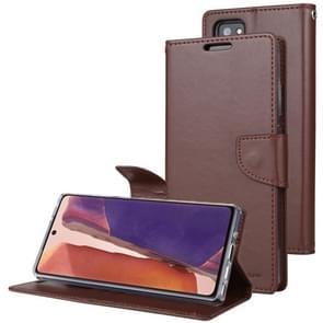 Voor Samsung Galaxy Note20 GOOSPERY Bravo Diary Crazy Horse Texture Horizontale Flip Lederen case met bracket & card slot & wallet(bruin)